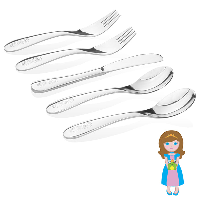 Safe stainless steel utensils for kids and toddlers- little princess model- 2 kids spoons, 2 kids forks,  1 butter knife.