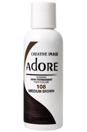 Adore Semi Permanent Hair Color (4 oz)- #108 Medium Brown - KYROCHE BEAUTY SUPPLIES
