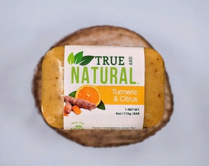 TRUE AND NATURAL TURMERIC AND CITRUS SOAP X3