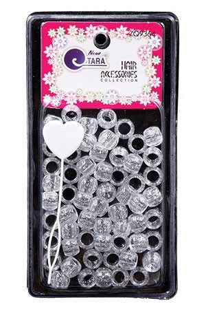 TARA HAIR ACCESSORIES CLEAR SILVER GLITTER BEADS