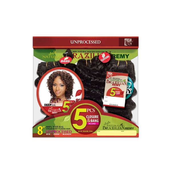 "EVE VIRGIN DEEP CURL 8"" NATURAL"