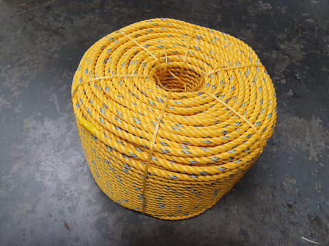 Cray Pot Rope - 11mm - Diamond Networks - Yellow with Blue Fleck - 120m and 220m Coils Available