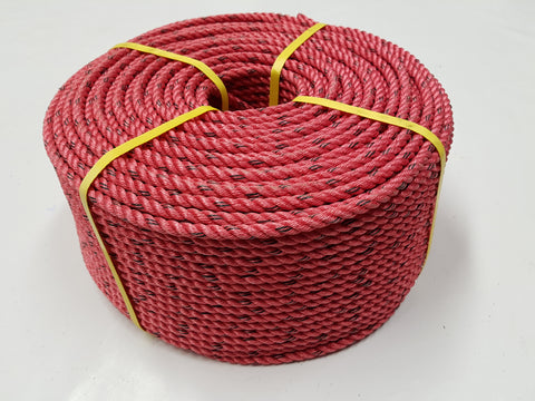 Cray Pot Rope 11mm - 220m Coil - Red Colour - Medium Hard Lay - Diamond Networks