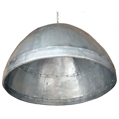 RIVETTED ZINC DOME PENDANT/LGE-Default-BisqueTraders