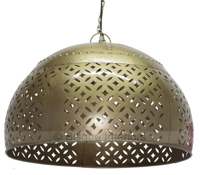 IRON CARVED DOME PENDANT-LIGHTING-BisqueTraders