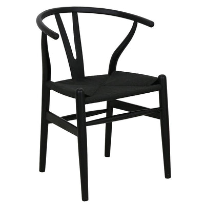 WISHBONE CHAIR RATTAN - BLACK-Default-BisqueTraders