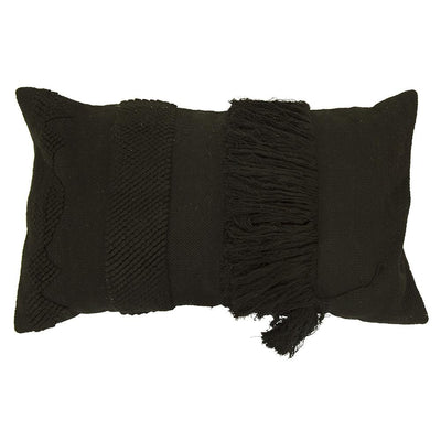 BLACK FRINGED RECTANGLE CUSHION