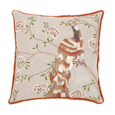 EMBROIDERED RESTING BIRD CUSHI