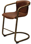 LEATHER & BRONZE BAR STOOL-Default-BisqueTraders
