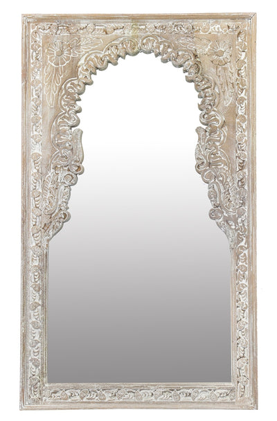 CARVED INDIAN MIRROR WHITEWASHED