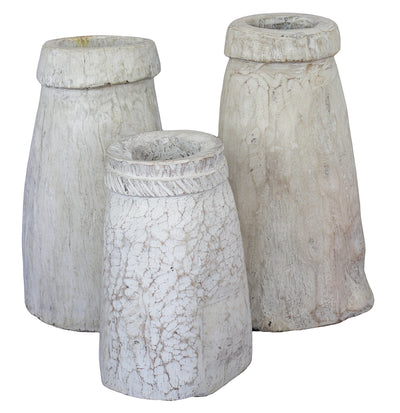 WHITEWASHED OLD INDIAN WOODEN OIL POTS