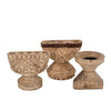 OLD BLEACHED SHORT WOODEN CANDLEHOLDER, ASSORTED