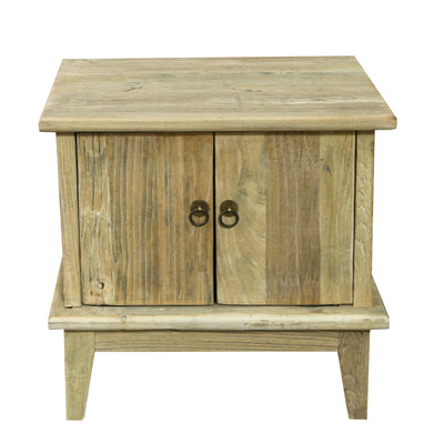 2 DOOR RECYCLED ELM BEDSIDE CABINET