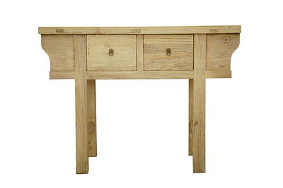 OLD ORNATE PINE 2 DRAWER CONSOLE, BLEACHED