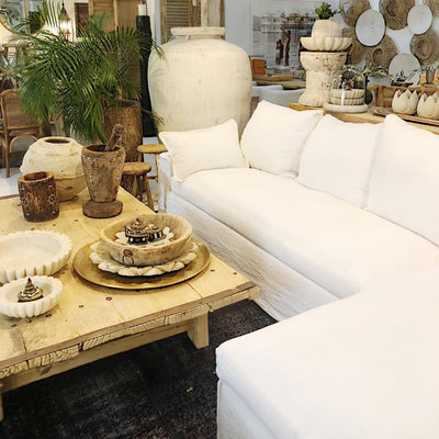 SENJA CORNER SOFA SET OF 2, WHITE LINEN