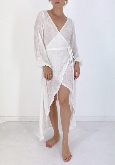 HAWLA WRAP DRESS IN WHITE