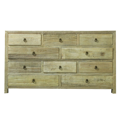 LARGE RECYCLED ELM CABINET WITH DRAWERS