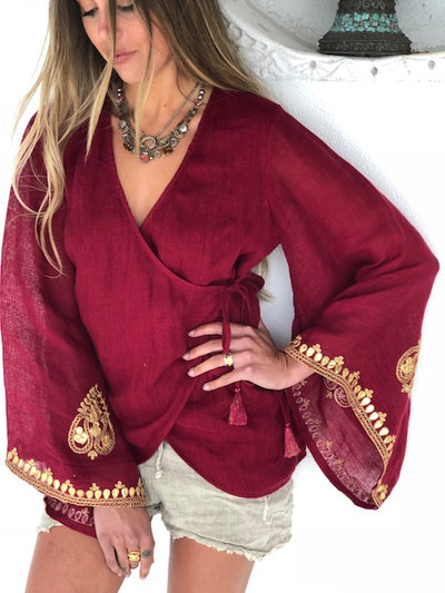 Lakshmi top ruby red linen