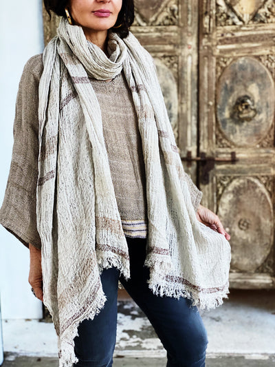 SCIALLE RIGA BROWN SCARF NATURALE