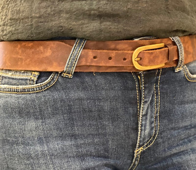 NARROW BUCKLE BELT TAN