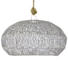 RATTAN ANGULAR PENDANT, SMALL WHITE