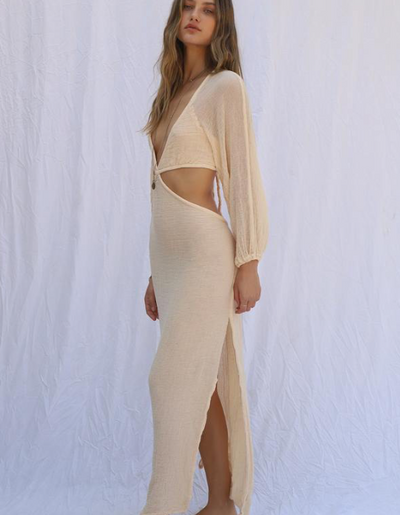 GAUZE SONORA DRESS- SAND BLOSSOM
