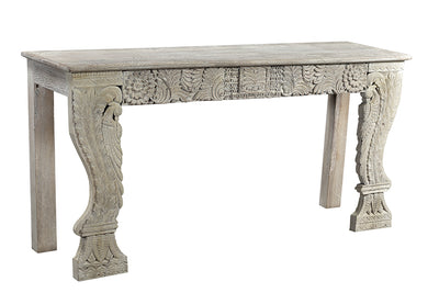 OLD CARVED PANEL CONSOLE WHITE