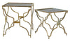 SET/2 GLASS SIDE TABLES BRASS COATED IRON