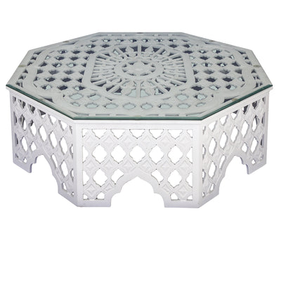 CARVED WHITE COFFEE TABLE
