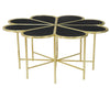 BLACK MARBLE & BRASS FLORAL COFFEE TABLE