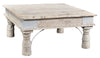 SQUARE CARVED LEG INDIAN COFFEE TABLE