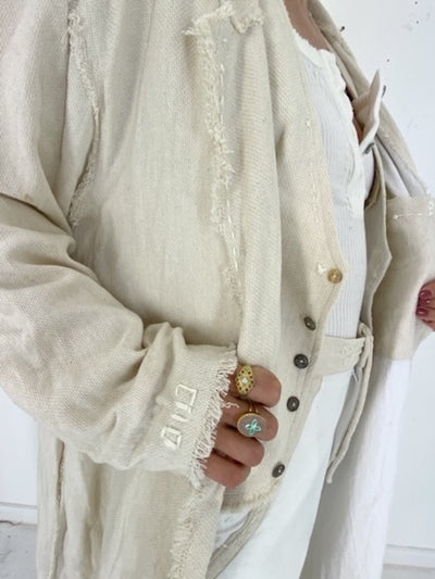 AASIR TWO TONE LONG WHITE AND CREAM COTTON COAT