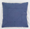 COTTON FLAX EMBROIDERED CUSHION BLUE