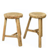OLD ANTIQUE ELM ROUND LOW STOOL, BLEACHED