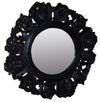 CARVED OLD BLACK WOODEN MIRROR