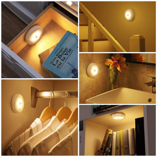 Cordless Battery-Powered LED Motion Sensor Night Light (Pack of 3)