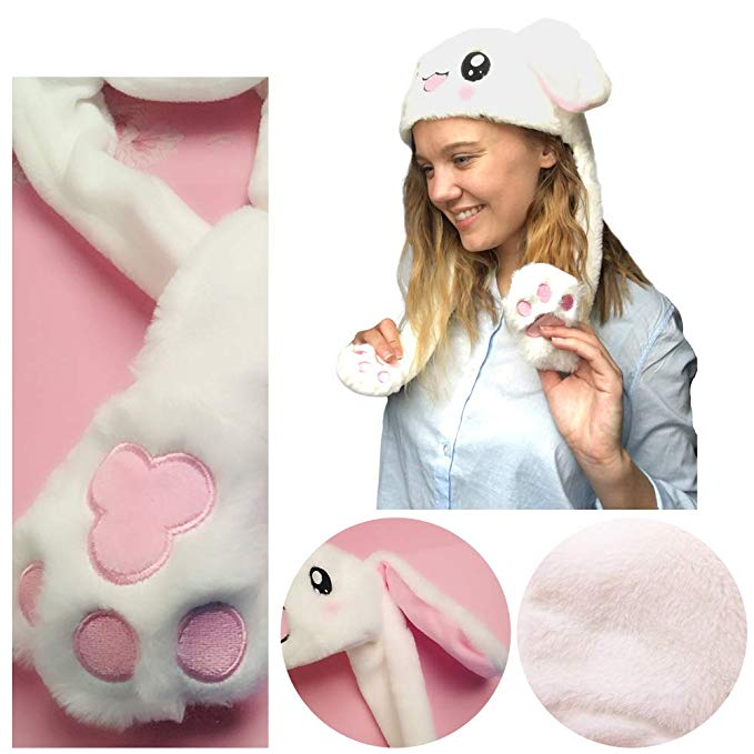 Plush Moving Rabbit Ear Hat