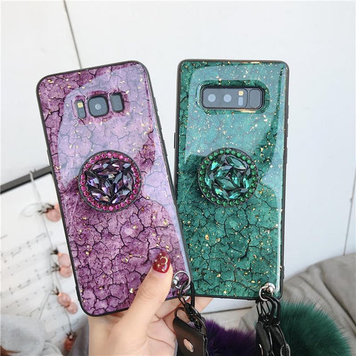 2019 New Fashion Hair Ball Crystal Airbag Bracket Case for Samsung Mobile Phones
