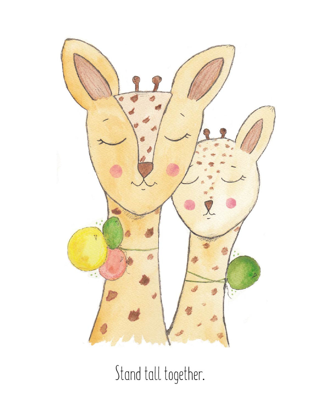 Stand Tall Together Giraffe Art Print