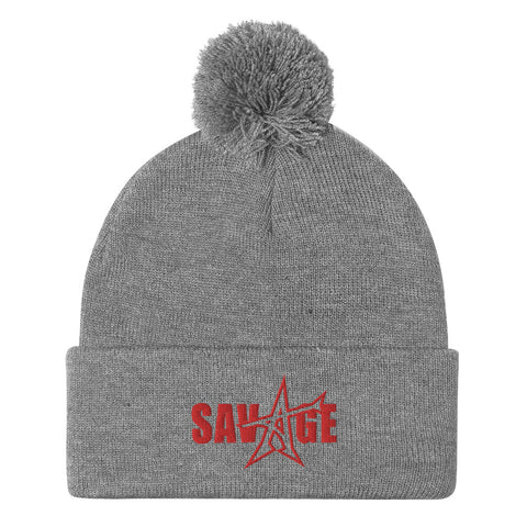 """SAVAGE"" Pom-Pom Beanie (red stitch)"