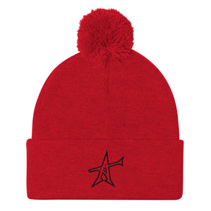"""ALL-IN"" Pom-Pom beanie (black print)"