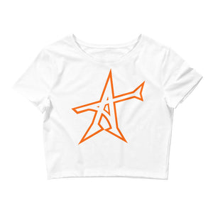 """ALL-IN"" Women's  Crop Tee (orange print)"