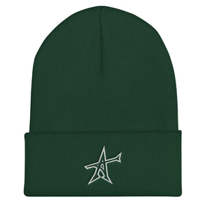 """ALL-IN"" Cuffed Beanie (white print)"
