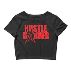 """HUSTLE HARDER"" Women's  Crop Tee (red print)"