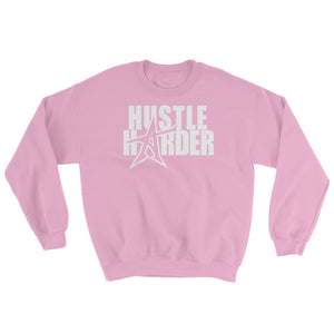 """HUSTLE HARDER"" Sweatshirt Light Pink (white print)"