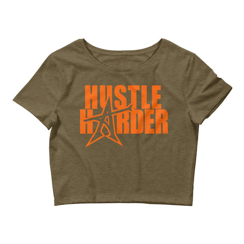 """HUSTLE HARDER"" Women's  Crop Tee (orange print)"