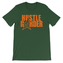 """HUSTLE HARDER"" T-shirt (neon-orange print)"