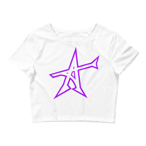 """ALL-IN"" Women's  Crop Tee (purple print)"