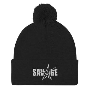 """SAVAGE"" Pom-Pom Beanie (white stitch)"
