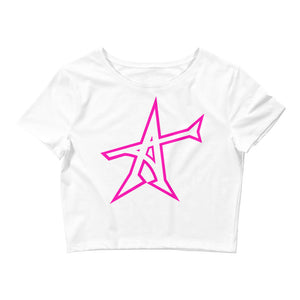 """ALL-IN"" Women's  Crop Tee (pink print)"